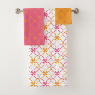 Pink And Yellow Modern Floral Pattern Bath Towel Set