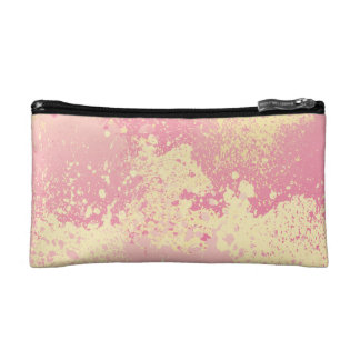 Pink and Yellow Paint Splatter Cosmetic Bag