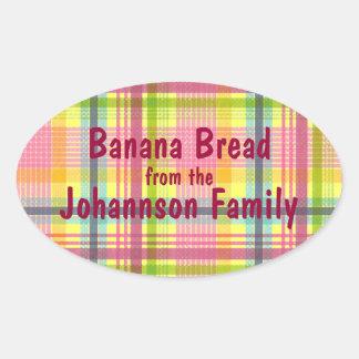 Pink and Yellow Plaid Banana Bread Jar Label