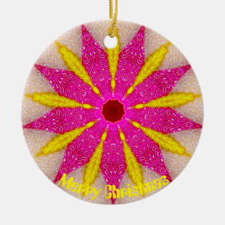 Pink and Yellow Pointsettia Fractal Ceramic Ornament