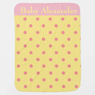 Pink and Yellow polka dots Baby Blanket