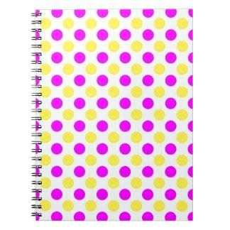 Pink and yellow polka dots notebook