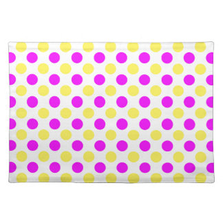 Pink and yellow polka dots placemat