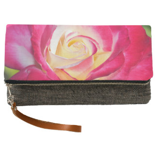 Pink and yellow rose clutch