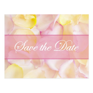 Pink and Yellow Rose Petals Save the Date Postcard