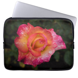 Pink and Yellow Rose with Raindrops Laptop Sleeve