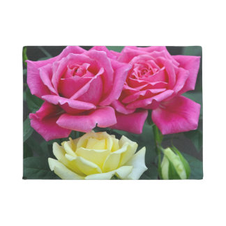Pink and yellow roses floral print doormat