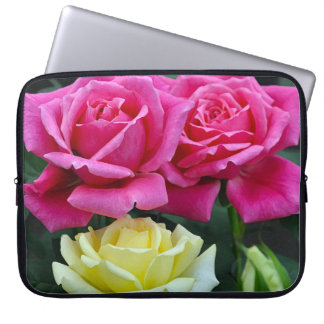 Pink and yellow roses floral print laptop sleeve
