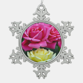 Pink and yellow roses floral print snowflake pewter christmas ornament