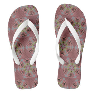 pink and yellow roses kaleidoscope pattern flip flops