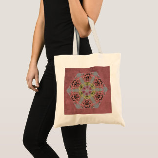 Pink and yellow roses kaleidoscope pattern tote bag