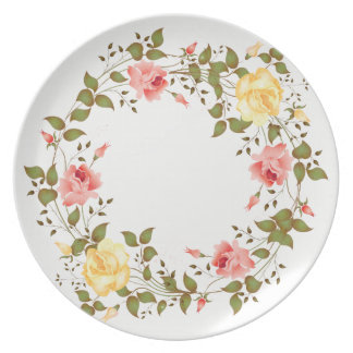 Pink and Yellow Roses Painting Melamine Plate