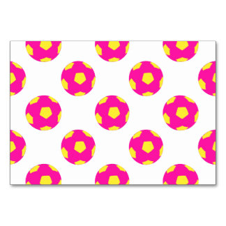 Pink and Yellow Soccer Ball Pattern Table Card