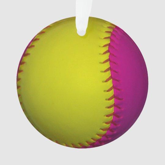 Pink and Yellow Softball