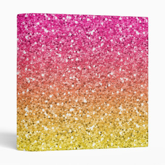 Pink and Yellow Sparkly Bits Vinyl Binder