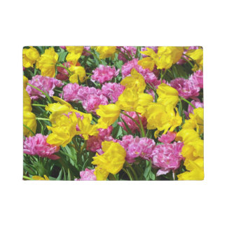 Pink and yellow spring tulips doormat