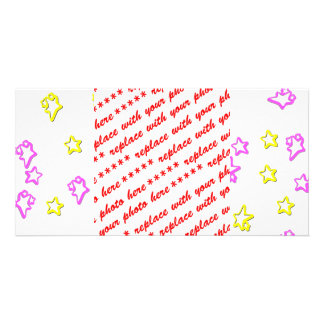 Pink  And Yellow Star Background Cover Personalized Photo Card
