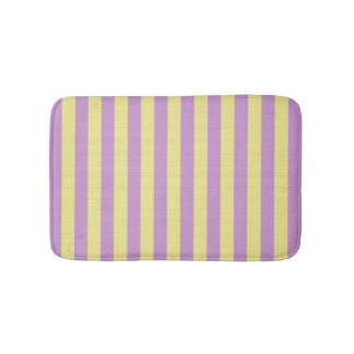 Pink and yellow striped bath mat