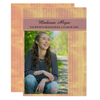 Pink and Yellow Striped Graduation Party Photo Card