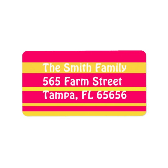 Pink and Yellow Stripes Address Labels