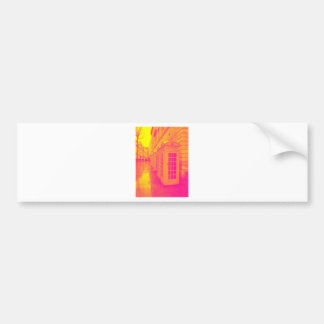 Pink and yellow telephone boxes bumper sticker