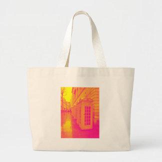 Pink and yellow telephone boxes jumbo tote bag