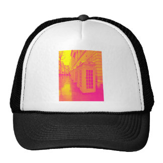 Pink and yellow telephone boxes trucker hat