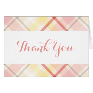 Pink and Yellow Thank You Stripes Plaid Wedding Card