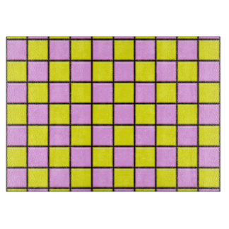Pink and Yellow Tiles Cutting Board