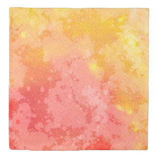 Pink and Yellow Watercolor Abstract Pattern Duvet Cover