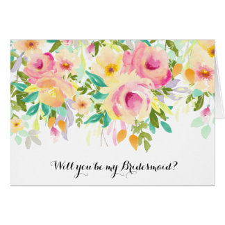 Pink and Yellow Watercolor Floral Bridesmaid Card
