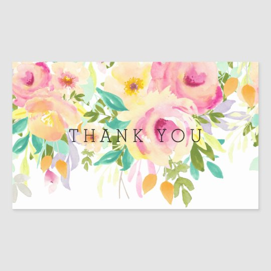 Pink and Yellow Watercolor Floral Thank You Sticker