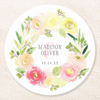 Pink and Yellow Watercolor Floral Wreath | Wedding Round Paper Coaster