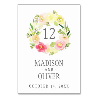 Pink and Yellow Watercolor Floral Wreath | Wedding Table Card