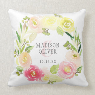 Pink and Yellow Watercolor Floral Wreath | Wedding Throw Pillow