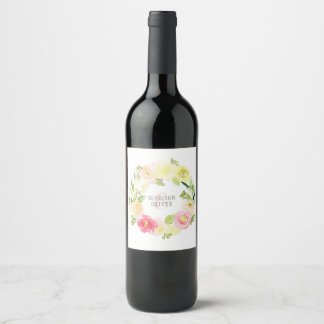 Pink and Yellow Watercolor Floral Wreath   Wedding Wine Label