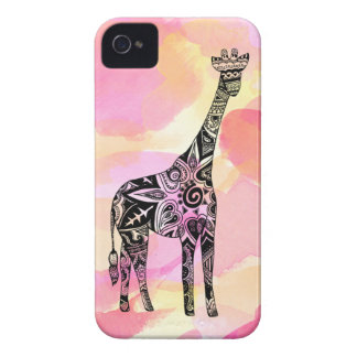 Pink and Yellow Watercolor Giraffe Case-Mate iPhone 4 Case