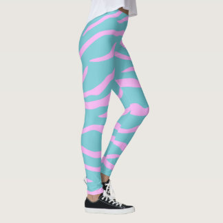 Pink and Your Color Tiger Stripe Pattern Leggings