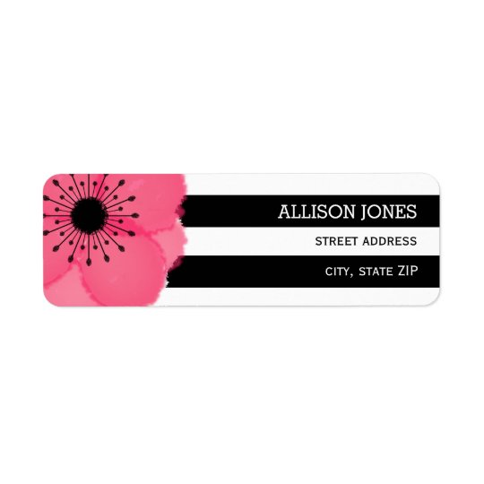Pink Anemone+ Stripes Address Label