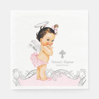 Pink Angel Baby Girl Baptism Christening Paper Napkins