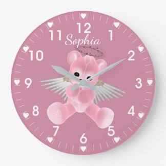 Pink Angel Bear Large Clock