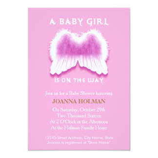 Pink Angel Wings Baby Shower Card