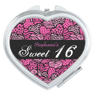 Pink animal pattern hearts Sweet 16 Mirror Travel Mirrors