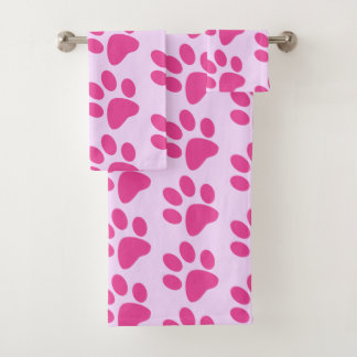 Pink Animal Paw Print Bath Towel Set