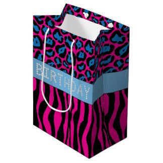 Pink Animal Print Diamond Birthday Gift Bag