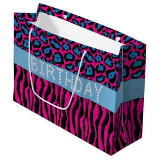 Pink Animal Print Diamond Birthday Gift Bag Lg
