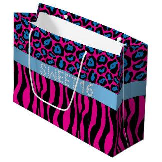 Pink Animal Print Diamond Sweet 16 Gift Bag L