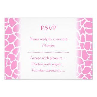 Pink Animal Print Giraffe Pattern Custom Announcements