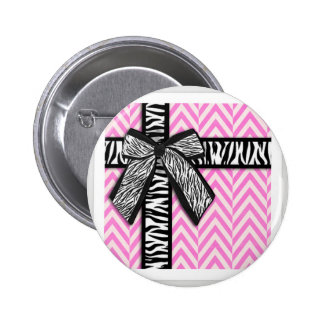 Pink animal print with bow design 2 inch round button