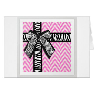 Pink animal print with bow design card